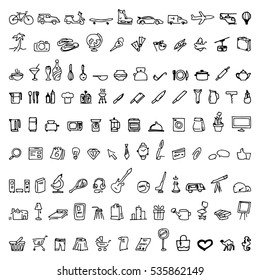 Big doodle set with hand drawn vector elements, logos, including business, travel, kitchen, hotel, educational, hobbies icons.