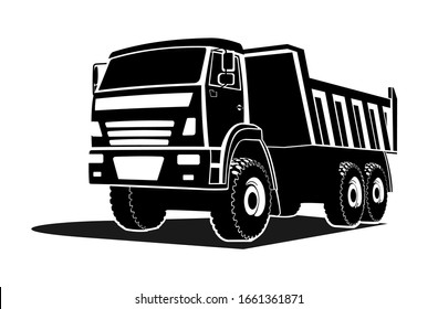 big dump truck silhouette, logo. Three quarter view.