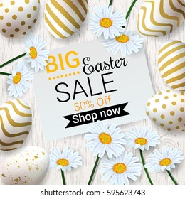 Big Easter Sale background with beautiful daisy flowers and golden decorated eggs. Vector template for wallpaper, flyers, invitation, posters, brochure, discount voucher, banner.