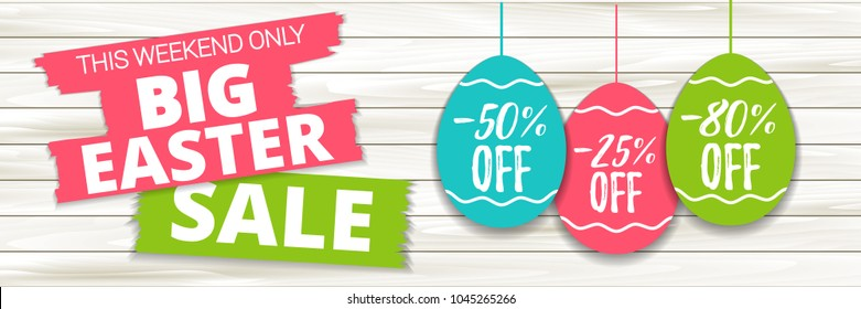 Big Easter sale offer, banner template. Colored Easter egg price sticker with lettering, isolated on wooden background. Easter paper eggs sale tag. Shop market web banner or poster design. Vector