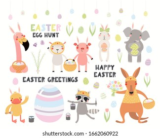 Big Easter set with cute animals, eggs, flowers, quotes. Isolated objects on white background. Hand drawn vector illustration. Scandinavian style flat design. Concept kids holiday print, card, invite.