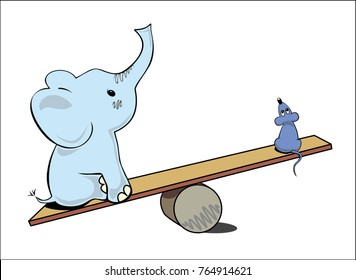 The big elephant outweighed a small mouse