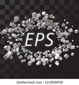 big eliptic frame formed by random sized cubes. free area for any object or text. suitable for banner, ad, technology and abstract themes. with transparent background.