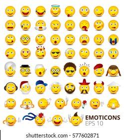 Big emoticon set isolated on white background.