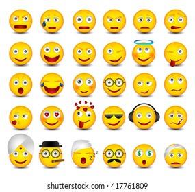 Big emotikons set. Emoji set on white background