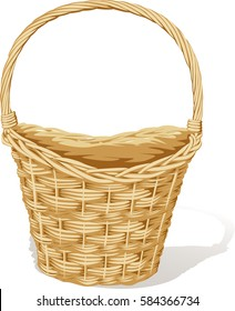 big empty basket isolated on white - vector illustration