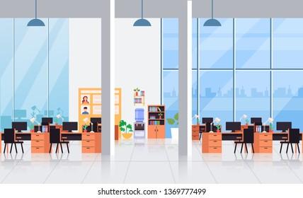 Big empty office interior workplace workspace concept. Vector flat cartoon graphic design illustration