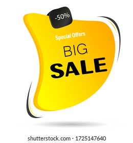 Big, exclusive sale, low prices, Special offer, 50% off. Yellow advertising icon to promote retail business, attract customers. Sale of various goods for a limited time. Vector illustration.