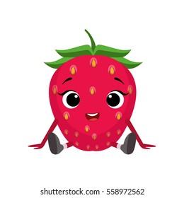 Big Eyed Cute Girly Strawberry Character Sitting, Emoji Sticker With Baby Berry