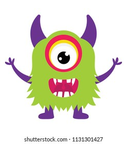 A big eyed and horned monster screaming with opened arms, cyclops flat icon image