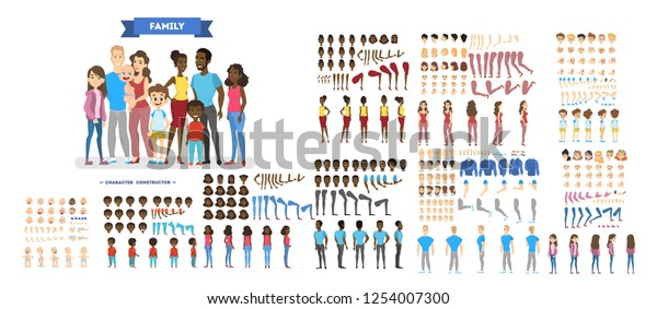 Big family character set for the animation with various views, hairstyle, emotion, pose and gesture. African american mother, father and children. Isolated vector illustration in cartoon style