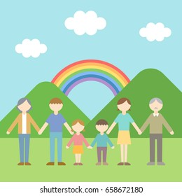 Big family with children vector illustration