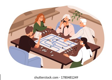 Big family of different generations playing board game vector flat illustration. Grandparents, parents and kid enjoy home leisure activity isolated on white. Happy relatives spending time together