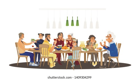 Big family dinner around table with food, many people eating a meal and talking together, happy cartoon characters during group lunch or celebration, isolated vector illustration on white background