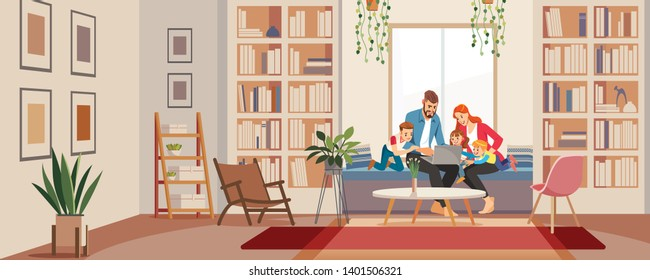 Big family father mother and children in home library looking at laptop. Modern living room in bright colors. Interior room home library. The main concept of reading. Vector flat cartoon illustration.