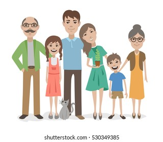 Big family flat vector characters