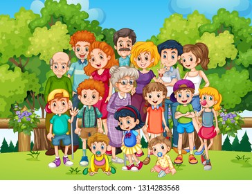 A big family at the garden illustration