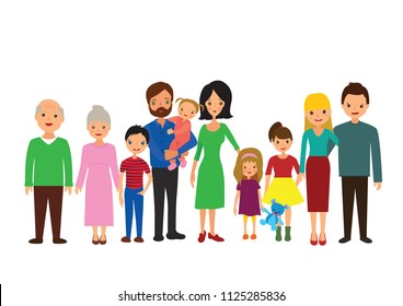 big family grandparents  aunt uncle cousins drawing illustration
