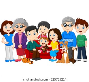 Big family with grandparents isolated on white background
