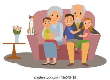 Big Family. Happy family whith grandchildrens and grandparents sitting on the sofa with cat
