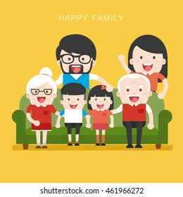 Big Family. Happy family whith grandchildrens, parents and grandparents sitting on the sofa