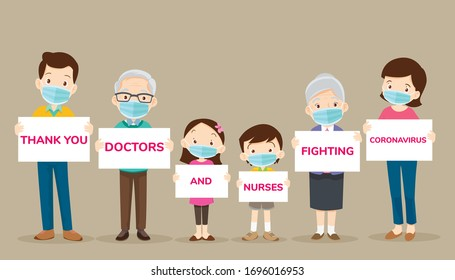 big family holding banners for Thank you doctors and nurses working in the hospitals and fighting the coronavirus,Thank you doctor and Nurses and medical personnel team for stop covid-19