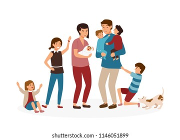 Big family with many children. Stressed and tired parents or exhausted mom and dad and nasty kids isolated on white background. Problem of tiring and stressful parenting. Cartoon vector illustration