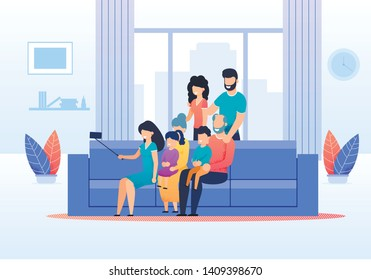 Big Family Members Gathered Together to Make Selfie. Young Aunt Shooting Group Portrait. Married Couple Standing, Grandparents with Grandchildren Sitting on Sofa. Flat Cartoon Vector Illustration