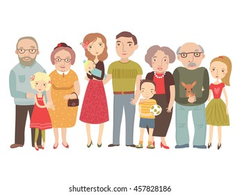 Big family , mom, dad , kids, grandparents . Vector illustration