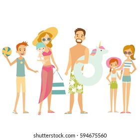Big Family on vacation on the sea. Beach activities. Vector illustration.
