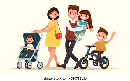 Big family on the walk. Mother with baby in a pram, Dad keeps daughter in her arms and son riding on a bicycle. Vector illustration in a flat style