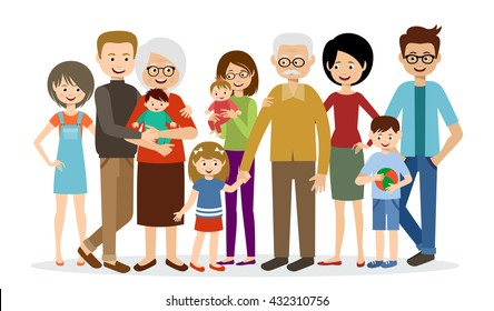 Big family on a white background