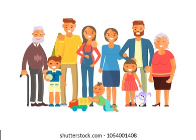 Big family portrait including kids, parents and grandparents. Cartoon characters isolated on white background. Poster for International Family Day. Vector illustration eps 10