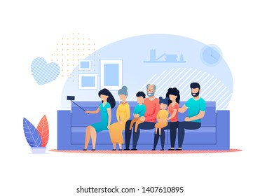 Big Family Selfie at Home Vector Flat Cartoon. Happy Mother, Father, Children, Grandfather and Grandmother Gathered Together Making Photos on Smartphone Sitting on Sofa in Living Room Illustration