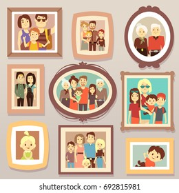 Big family smiling photo portraits in frames on wall vector illustration. Family portrait frame, mother and father, happy family