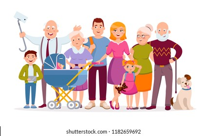 Big family standing together as a family portrait cartoon characters in vector flat design. Mother, father, children, baby, grandparents, pet, huge set of cartoon people adult and young isolated.