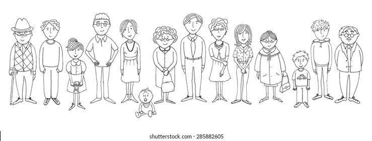 Outline Picture Of Big Family - FamilyScopes