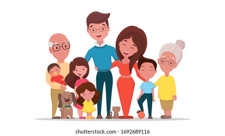 Big family together. Happy extended family with parents, grandparents and children and pets with cheerful smile. Vector flat cartoon illustration