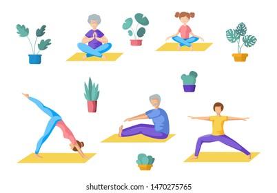 senior people doing yoga stock vectors images  vector