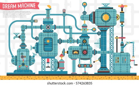 Big Fantastic intricate steampunk machine, with pipes, aggregates, valves, cables, devices and other components. It can be disassembled into individual spare parts. Vector illustration.
