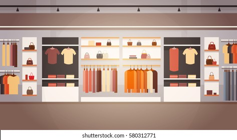 Big Fashion Shop Super Market Female Clothes Shopping Mall Interior Banner With Copy Space Flat Vector Illustration