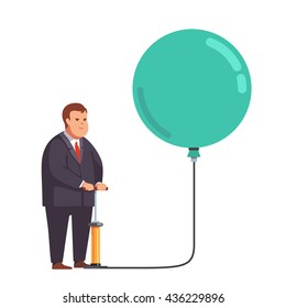 Big fat business man inflating huge balloon with hand pump. Flat style vector illustration clipart.