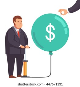 Big fat corporation or financial power concept. Obese business man inflating a market bubble with dollar sign, hand holding a needle ready to pop burst it. Flat style vector concept illustration.