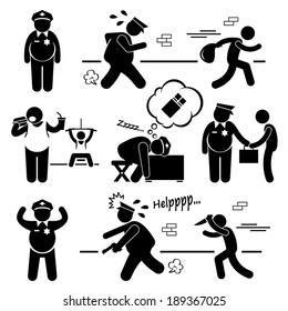 Big Fat Lazy Police Cop Stick Figure Pictogram Icon Cliparts