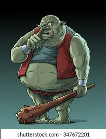 Big fat troll with cudgel standing in the woods, picking his nose.