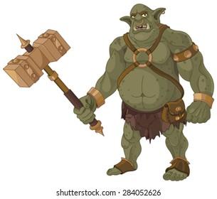 Big fat troll with wood hammer
