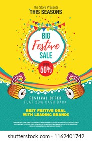 Big Festival Sale Poster Design Layout Template Background Design with 50% Discount Tag - A4 Size Festival Sale Poster Design Template