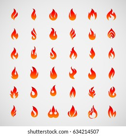 Big Fire Icons Set. Colorful Flames in the Flat Style. Simple, Icons Bonfire