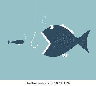 Big fish eat little fish. Concept of Saving oneself.