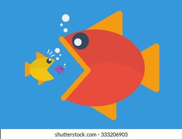 Big fish eat little fish. Flat style. Business Concept